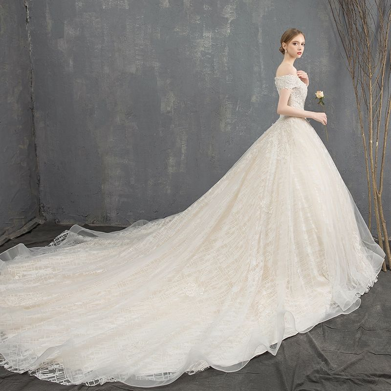 Luxury / Gorgeous Champagne Wedding Dresses 2018 Ball Gown Lace Flower Off-The-Shoulder Backless Sleeveless Royal Train Wedding