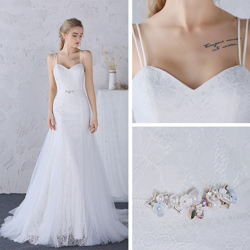 Modest / Simple Church Wedding Dresses 2017 Lace Appliques Pearl Sash Backless Shoulders Sweetheart Sleeveless Court Train White Trumpet / Mermaid