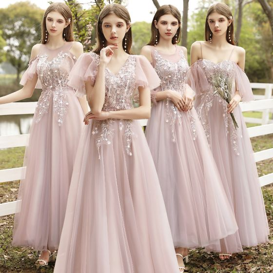 Fashion Blushing Pink Bridesmaid Dresses 2021 A-Line / Princess Scoop Neck Lace Flower Appliques Short Sleeve Backless Floor-Length / Long Wedding Party Dresses