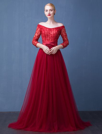 Evening Dress 2016 Off The Shoulder Beading Crystal Backless Burgundy Long Formal Dress With Sleeves