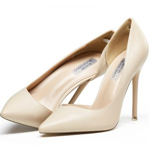 Simple Nues Bureau OL Chaussures Femmes 2020 Cuir 10 cm Talons Aiguilles À Bout Pointu Talons Hauts