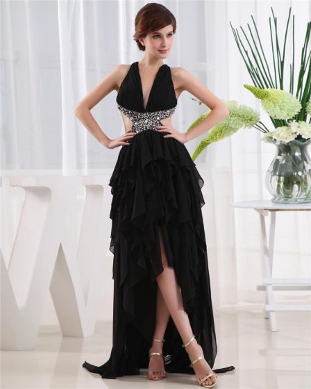 High Low V Neck Sleeveless Crossed Belt Asymmetrical Beading Ruffle Chiffon Woman Prom Dress