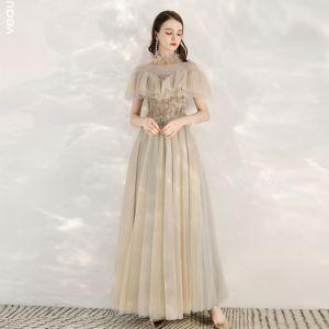Elegant Champagne Grå Gennemsigtig Selskabskjoler 2020 Prinsesse Høj Hals Kort Ærme Beading Lange Flæse Kjoler