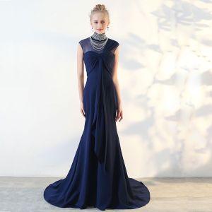 Mode Königliches Blau Abendkleider 2018 Tülle Perlenstickerei Strass Abend Festliche Kleider