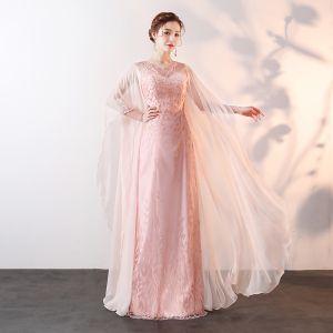 Chic / Belle Perle Rose Longue 2018 Robe De Soirée Princesse U-Cou Tulle Perlage Perle Paillettes Soirée Robe De Ceremonie