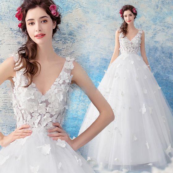 Zniżka Białe Suknie ślubne 2019 Princessa V Szyja Bez Rękawów Bez
