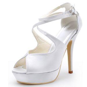 Chaussures De Mariage De Qualite De Satin De Tete De Poisson De Haut Avec Un Solide Chaussures Couleur Du Parti