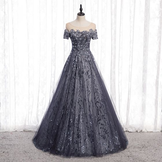 Sparkly Grey Glitter Evening Dresses  2020 A-Line / Princess Scoop Neck Beading Sequins Rhinestone Short Sleeve Backless Floor-Length / Long Formal Dresses