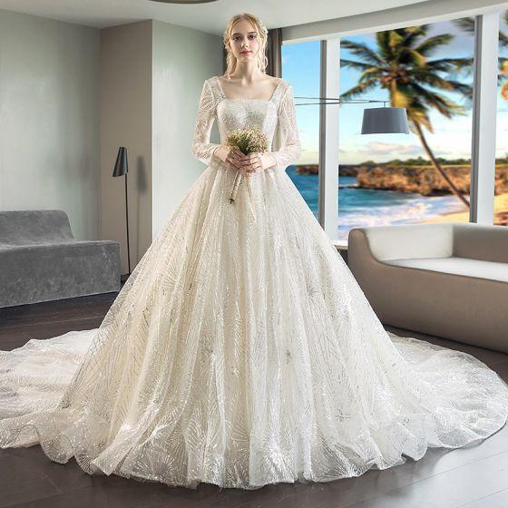 magnífico champán vestidos de novia 2018 ball gown rebordear