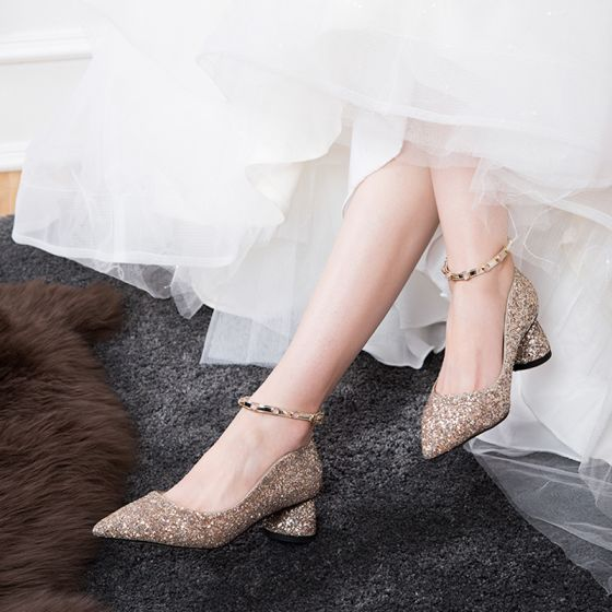 Sparkly Rose Gold Wedding Shoes 2019 Sequins Ankle Strap 5 cm Stiletto Heels Pointed Toe Wedding Pumps