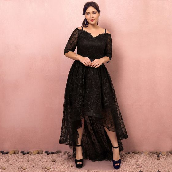 3d26dfbbf75 Chic   Beautiful Black Plus Size Cocktail Dresses 2018 1 2 Sleeves A-Line    Princess Lace-up V-Neck Tulle Appliques Backless Cocktail Party Formal  Dresses