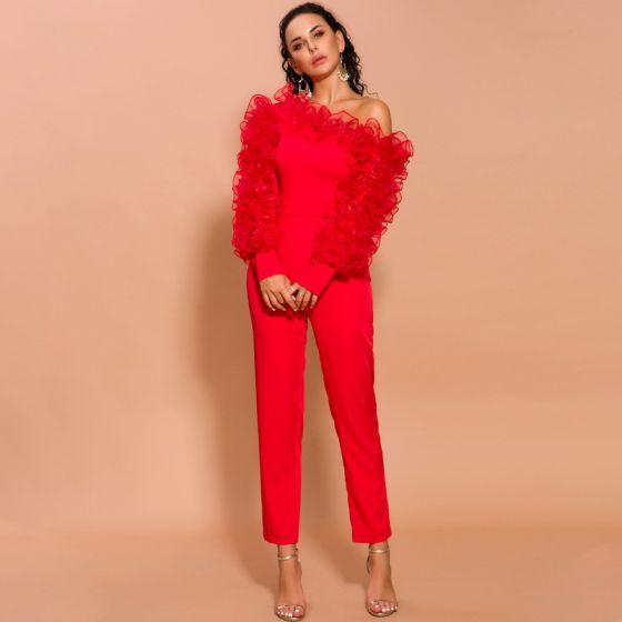 Moda Czerwone Kombinezon 2020 Jedno Ramię Bufiasta Długie Rękawy Długość Kostki Sukienki Wieczorowe