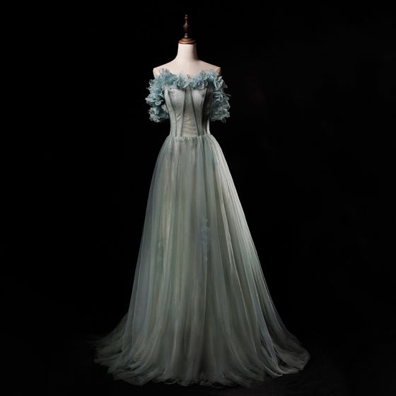 Classy Sage Green Prom Dresses 2019 Princess Strapless Sleeveless Floor-Length / Long Ruffle Backless Formal Dresses
