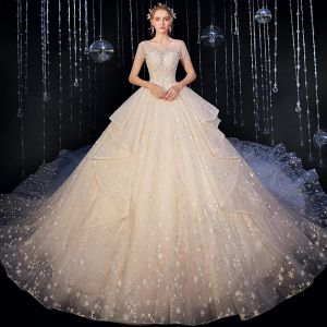 Luxury / Gorgeous Champagne Wedding Dresses 2020 Ball Gown Scoop Neck Beading Tassel Sequins Lace Flower Appliques Sleeveless Backless Royal Train