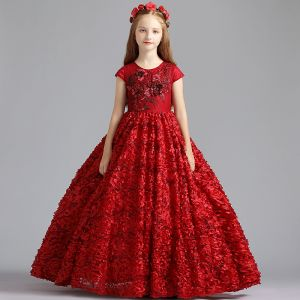 Best Burgundy Flower Girl Dresses 2019 A-Line / Princess Scoop Neck Cap Sleeves Pearl Sequins Pierced Polyester Floor-Length / Long Ruffle Wedding Party Dresses