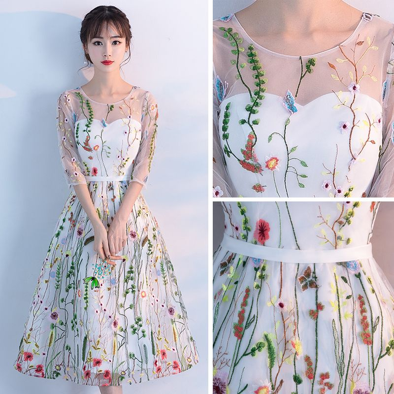 Chic / Beautiful Hall Formal Dresses 2017 Graduation Dresses White Tea-length A-Line / Princess Scoop Neck Backless 1/2 Sleeves Appliques Flower