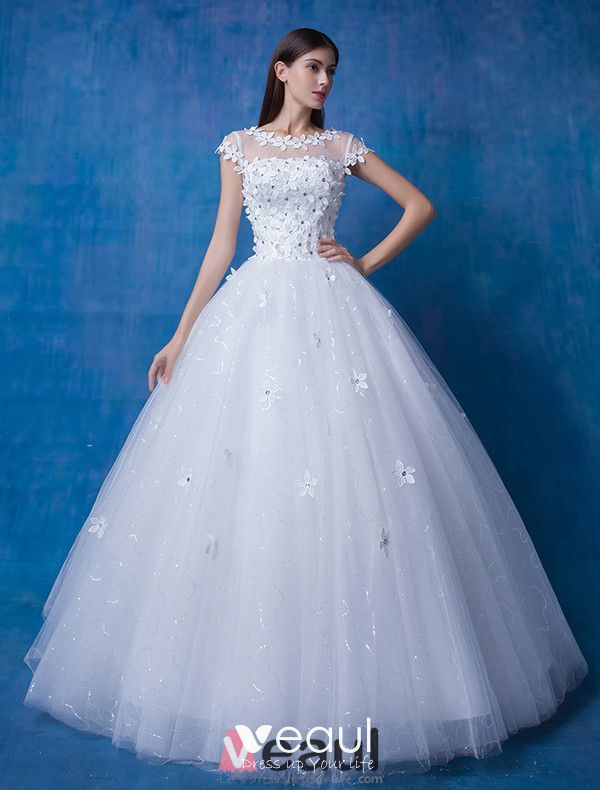 2016 Beautiful Scoop Neckline Short Sleeves Applique Flowers Rhinestone Glitter Organza Wedding Dress