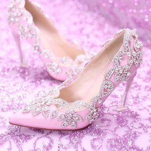 Hermoso Morado 2017 PU Gala Rebordear Crystal Rhinestone Zapatos De Mujer