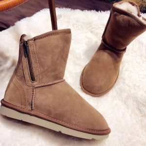 Modest / Simple Brown Snow Boots 2020 Woolen Leather Casual Outdoor / Garden Winter Ankle Zipper Suede Flat Round Toe Womens Boots