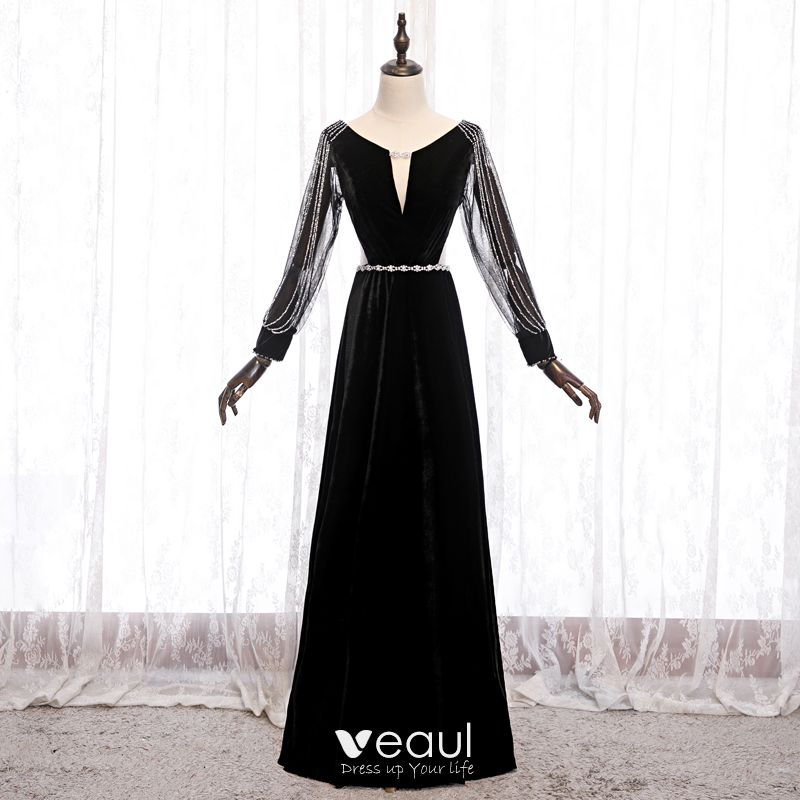 Abordable Noire Velour Robe De Soiree 2020 Princesse Transparentes Col V Profond Gonflee Manches Longues Perlage