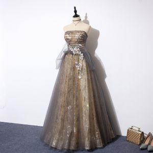 Elegant Grey Gold See-through Prom Dresses 2019 A-Line / Princess Strapless Sleeveless Appliques Flower Beading Glitter Tulle Floor-Length / Long Ruffle Backless Formal Dresses