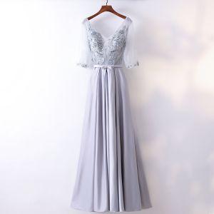Schöne Silber Abendkleider 2017 A Linie Spitze Kristall Schleife V-Ausschnitt Rückenfreies 1/2 Ärmel Knöchellänge Festliche Kleider