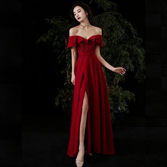Chic / Belle Rouge Robe De Soirée 2020 Princesse De l'épaule Manches Courtes Appliques En Dentelle Perlage Ceinture Fendue devant Longue Volants Dos Nu Robe De Ceremonie