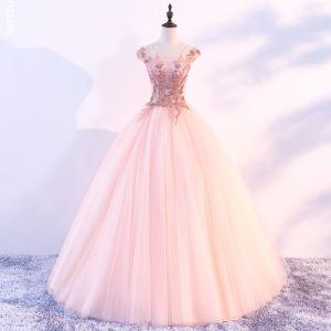 Schöne Pearl Rosa Ballkleider 2018 Ballkleid Rundhalsausschnitt Ärmel Applikationen Blumen Perlenstickerei Lange Rüschen Rückenfreies Festliche Kleider