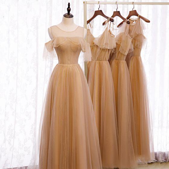 Eleganckie Brązowy Sukienki Dla Druhen 2020 Princessa Kótkie Rękawy Bez Pleców Rhinestone Długie Wzburzyć