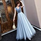 Elegante Blauw Avondjurken 2019 A lijn V-Hals Kralen Kristal Mouwloos Ruglooze Lange Gelegenheid Jurken