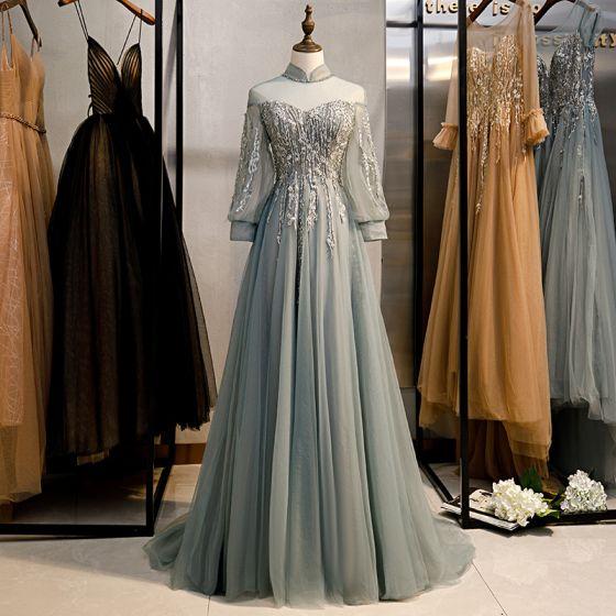 Vintage Grå Balklänningar 2020 Prinsessa Hög Hals Beading Rhinestone Spets Blomma Långärmad Halterneck Svep Tåg Formella Klänningar