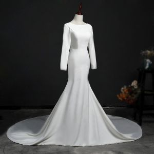 Schlicht Ivory / Creme Brautkleider 2018 Mermaid Rundhalsausschnitt Lange Ärmel Rückenfreies Kathedrale Schleppe