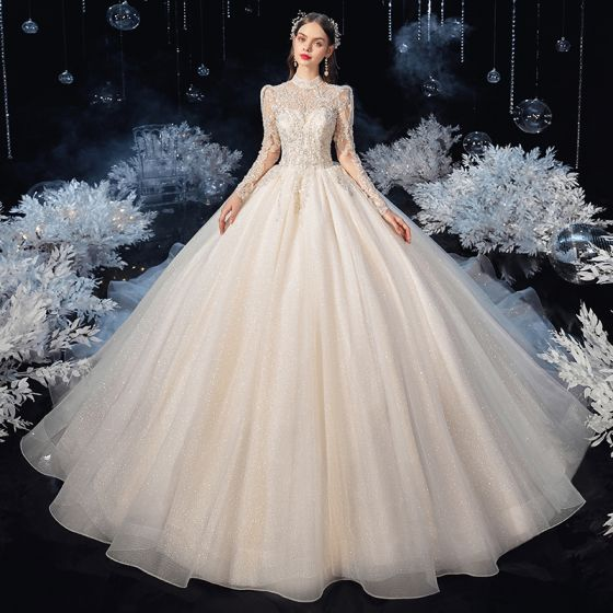 Illusion Vintage / Retro Champagne See-through Bridal Wedding Dresses 2020 Ball Gown High Neck Long Sleeve Backless Appliques Lace Beading Glitter Tulle Cathedral Train Ruffle