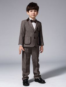 Childrens Brown Suits, Boys Wedding Suits 4 Sets