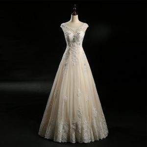 Chic / Beautiful Champagne Wedding Dresses 2018 A-Line / Princess See-through Scoop Neck Sleeveless Backless Appliques Lace Beading Rhinestone Floor-Length / Long Ruffle