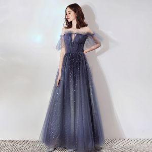 Bling Bling Navy Blue See-through Evening Dresses  2019 A-Line / Princess Scoop Neck Bell sleeves Glitter Tulle Floor-Length / Long Backless Formal Dresses