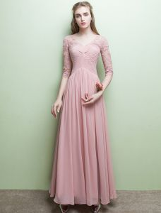 Glamorous Evening Dresses V-neck Ruffle Pink Chiffon Dress With Sleeves