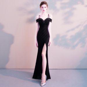 Moderne / Mode Sexy Noire Longue Robe De Soirée 2018 Trompette / Sirène Charmeuse Dos Nu Perlage Faux Diamant Robe De Ceremonie