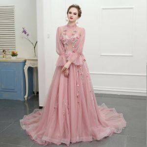 Piękne Rumieniąc Różowy Trenem Katedra Sukienki Wieczorowe 2018 Princessa Tiulowe Wysokiej Szyi Druk Wieczorowe Sukienki Na Bal