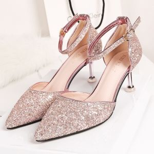 Sparkly Rose Gold Evening Party Womens Shoes 2020 Sequins Ankle Strap 6 cm Stiletto Heels Pointed Toe Heels