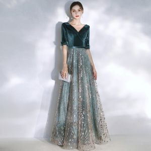 Chic / Beautiful Ink Blue Evening Dresses  2020 A-Line / Princess V-Neck 1/2 Sleeves Glitter Sequins Tulle Sash Floor-Length / Long Ruffle Backless Formal Dresses