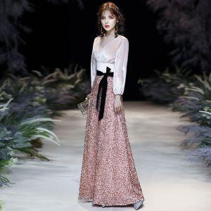 Glittrande Godis Rosa Paljetter Aftonklänningar 2020 Prinsessa V-Hals Rosett Långärmad Halterneck Långa Formella Klänningar
