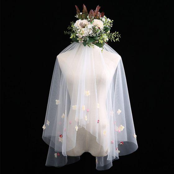 Blumenfee Weiß Kurze Brautschleier Applikationen Blumen Chiffon Hochzeit Brautaccessoires 2019