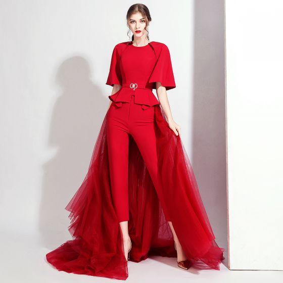 Moda Burgund Kombinezon Z Szalem 2020 Wycięciem Bez Rękawów Rhinestone Szarfa odpinany Trenem Sweep Sukienki Wieczorowe