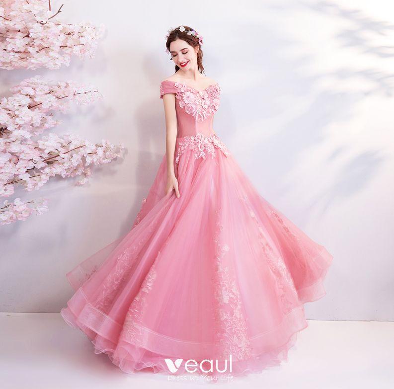 distribuidor mayorista como serch exuberante en diseño Hada de las flores Rosa Largos Vestidos de gala 2018 Ball Gown Tul Sin  Tirantes Apliques Sin Espalda Rebordear Gala Vestidos de noche