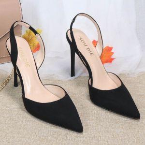Chic / Belle Noire Vêtement de rue Slingbacks Daim Sandales Femme 2020 10 cm Talons Aiguilles À Bout Pointu Sandales