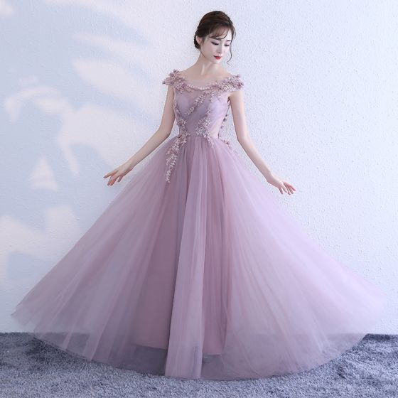 Chic / Beautiful Blushing Pink Prom Dresses 2018 A-Line / Princess Appliques Scoop Neck Backless Sleeveless Floor-Length / Long Formal Dresses