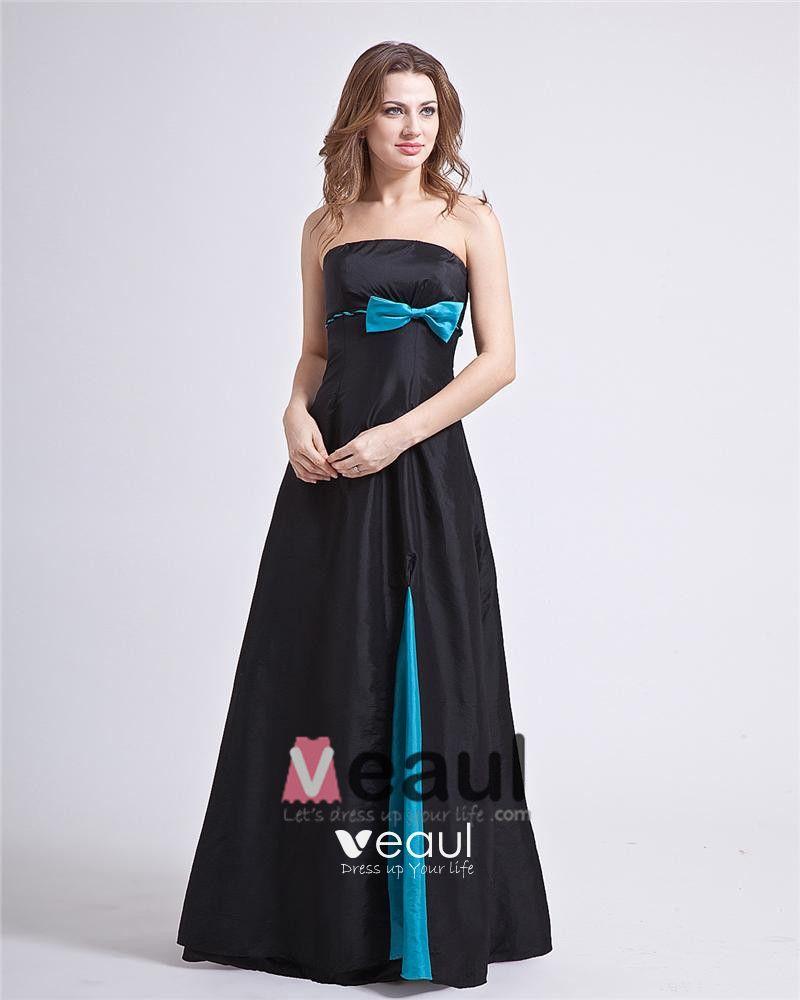 Square Bowknot Organza Floor Length Backless Bridesmaid Dress