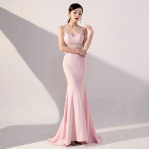 8cf9301c63 Sexy Rosa Transparentes Vestidos de noche 2019 Trumpet   Mermaid Spaghetti  Straps Sin Mangas Rebordear Tassel