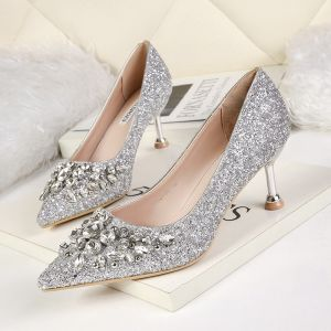 Sparkly Silver Wedding Shoes 2019 Rhinestone Sequins 6 cm Stiletto Heels Pointed Toe Wedding Pumps